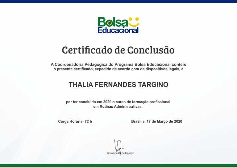 Modelo do Certificado de Conclusão do Programa Bolsa Educacional
