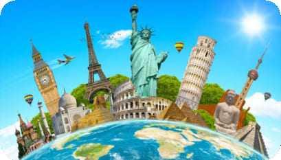 Montagem contendo diversos pontos turísticos agrupadas em cima do planeta terra