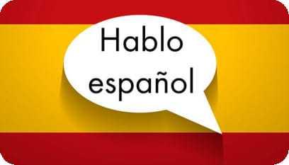 Bandeira da Espanha com um balão de diálogo por dentro com os dizeres Hablo Español