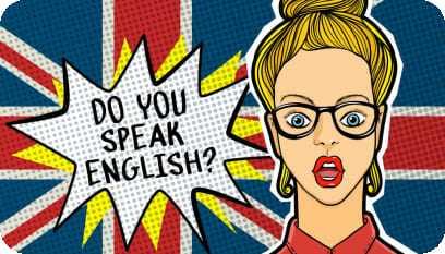 Desenho de uma moça com cara de surpresa e ao lado um splash com a frase: Do you speak english?